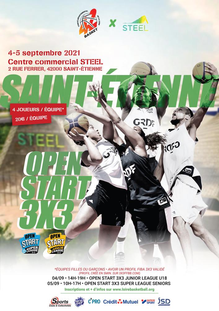 Affiche de l'Open Start 3x3 Junior League U18 et Super League senior du Comité Départemental de la Loire de basket-ball